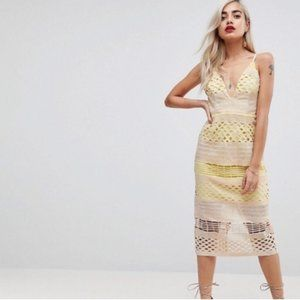 Asos Cream Yellow Bandage Bodycon Midi Dress